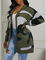 cheap -Women's Basic Knitted Camouflage Cardigan Long Sleeve Loose Sweater Cardigans V Neck Fall Winter Army Green
