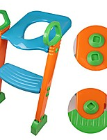 cheap -baby kids training toilet potty trainer seat chair toddler ladder step up stool (green+orange+blue)