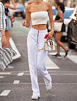 cheap -Women's Streetwear Daily Bootcut Pants Solid Colored Breathable White S M L