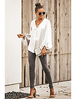 cheap -Women's Blouse Shirt Solid Colored Long Sleeve V Neck Tops Lantern Sleeve Basic Basic Top White Khaki Gray