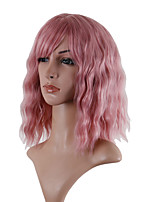 cheap -Synthetic Wig Loose Curl Asymmetrical With Bangs Wig Medium Length Pink / Grey Synthetic Hair 14 inch Women's Exquisite Comfy Fluffy Pink