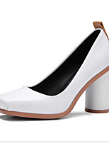 cheap -Women's Heels Pumps Square Toe Daily Solid Colored PU Walking Shoes White / Black