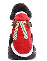 cheap -Dog Cat Costume Coat Christmas Reindeer Cosplay Winter Dog Clothes Red Costume Fabric XS S M L XL XXL