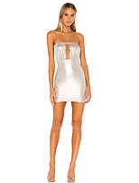 cheap -Women's Sheath Dress Short Mini Dress - Sleeveless Solid Color Patchwork Summer Sexy Going out Slim 2020 Silver S M L XL XXL