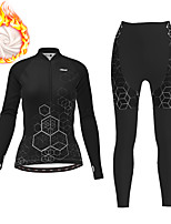 cheap -21Grams Women's Long Sleeve Cycling Jersey with Tights Winter Fleece Polyester Black Gradient Geometic Bike Clothing Suit Thermal Warm Fleece Lining Breathable 3D Pad Warm Sports Gradient Mountain