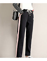 cheap -Women's Basic Daily Chinos Pants Striped Patchwork Drawstring Comfort Black Blushing Pink Gray S M L
