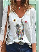 cheap -Women's T-shirt Cat Long Sleeve Print V Neck Tops Cotton Basic Basic Top White Blue Blushing Pink