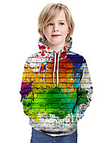 cheap -Kids Boys' Active Basic Color Block 3D Graphic Print Long Sleeve Hoodie & Sweatshirt Green