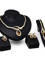 cheap -Men's Orange Synthetic Diamond Bridal Jewelry Sets Simple Basic Elegant Earrings Jewelry Gold For Wedding Engagement 1 set