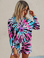 cheap -Women's Basic Tie Dye Two Piece Set Cotton Hooded T-shirt Pant Print Tops / Loose
