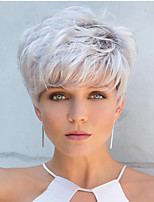 cheap -Synthetic Wig Curly Pixie Cut With Bangs Wig Short White Synthetic Hair 12 inch Women's Classic Adorable Cool White