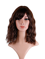 cheap -Synthetic Wig Loose Curl Asymmetrical With Bangs Wig Medium Length Dark Brown Synthetic Hair 14 inch Women's Fashionable Design Party Fluffy Brown