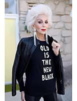 cheap -Women's T-shirt Letter Print Round Neck Tops 100% Cotton Basic Basic Top White Black