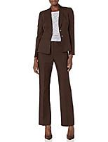 Недорогие -женский глазурованный меланжевый брючный костюм с 2 пуговицами и воротником-стойкой, эспрессо, 18