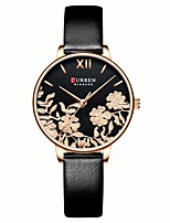 cheap -CURREN Women's Quartz Watches Quartz Modern Style Floral Style Elegant Water Resistant / Waterproof Analog Rose Gold Black / One Year / Genuine Leather / Japanese / Shock Resistant / Genuine Leather