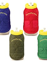cheap -Dog Cat Coat Solid Colored Casual / Daily Winter Dog Clothes Red Light Green Dark Green Costume Cotton S M L XL XXL