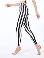 cheap -Women's Sporty Yoga Comfort Skinny Daily Leggings Pants Striped Ankle-Length High Waist Black