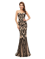 cheap -Mermaid / Trumpet Sexy bodycon Engagement Formal Evening Dress Sweetheart Neckline Sleeveless Sweep / Brush Train Tulle Sequined with Sequin 2020