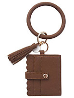cheap -wristlet bracelet keychain wallet, id card holder purse with pu leather tassel bangle key ring for women girls (brown)