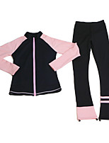 cheap -Figure Skating Jacket with Pants All Ice Skating Pants / Trousers Top Purple Red Blue Spandex Stretchy Training Skating Wear Thermal Warm Handmade Patchwork Long Sleeve Ice Skating Winter Sports