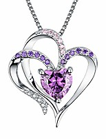 cheap -heart necklace 14k white gold plated 5a purple heart cubic zirconia womens pendant necklace