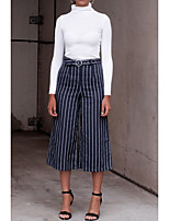 cheap -Women's Basic Daily Wide Leg Pants Striped Breathable White Blue S M L