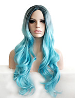 cheap -Synthetic Wig Body Wave Loose Curl Middle Part Wig Long Light Blue Synthetic Hair 22 inch Women's Party Adorable Ombre Hair Blue