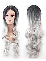 cheap -Synthetic Wig Curly Middle Part Wig Very Long Grey Synthetic Hair 28 inch Women's Anime Cosplay Exquisite Gray