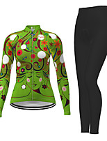 cheap -21Grams Men's Women's Long Sleeve Cycling Jersey with Tights Winter Polyester Green / Yellow Blue Pink Novelty Bike Jersey Tights Clothing Suit Breathable Quick Dry Moisture Wicking Back Pocket Sports