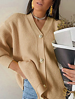 cheap -Women's Basic Knitted Solid Color Plain Cardigan Acrylic Fibers Long Sleeve Loose Sweater Cardigans V Neck Fall White Yellow Blushing Pink