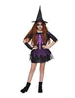 cheap -Witch Dress Cosplay Costume Party Costume Kid's Girls' Cosplay Halloween Halloween Festival / Holiday Polyester Purple Easy Carnival Costumes / Glove / Hat / Glove / Hat