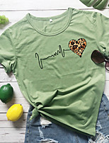 cheap -Women's T-shirt Leopard Heart Cheetah Print Print Round Neck Tops 100% Cotton Basic Basic Top White Yellow Wine