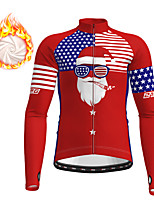 cheap -21Grams Men's Long Sleeve Cycling Jacket Winter Fleece Red National Flag Bike Jacket Top Mountain Bike MTB Road Bike Cycling Fleece Lining Warm Sports Clothing Apparel / Micro-elastic