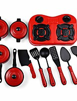 cheap -11 pieces of kitchen pretend play toys kitchen gourmet cookware pots and pans premium playset red/white