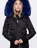 cheap -Women's Padded Parka Solid Colored Poly&Cotton Blend Black / Blue / Red S / M / L