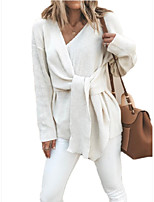 cheap -Women's Basic Knitted Solid Color Plain Pullover Long Sleeve Sweater Cardigans V Neck Fall Winter White Yellow