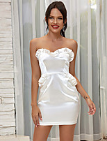 cheap -Women's Sheath Dress Short Mini Dress - Sleeveless Solid Color Backless Ruffle Summer Strapless Sexy Going out Slim 2020 White Black Blushing Pink One-Size