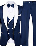 cheap -The Great Gatsby Retro Vintage Medieval Coat Pants Outfits Vest Men's Costume Navy Blue Vintage Cosplay Party Halloween Long Sleeve