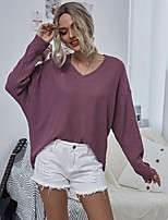 cheap -Women's Stylish Knitted Solid Color Plain Pullover Long Sleeve Loose Sweater Cardigans V Neck Fall Black Red Gray