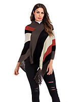cheap -Women's Blouse Shirt Striped Long Sleeve Patchwork V Neck Tops Batwing Sleeve Loose Basic Basic Top Red Light Brown