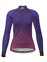 cheap -21Grams Women's Long Sleeve Cycling Jersey Winter Polyester Purple Gradient Bike Jersey Top Mountain Bike MTB Road Bike Cycling Quick Dry Back Pocket Sports Clothing Apparel / Micro-elastic