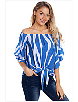 cheap -Women's Blouse Shirt Striped Off Shoulder Tops Basic Basic Top Black Blue Red