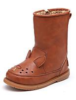 cheap -Girls' Boots Combat Boots PU Little Kids(4-7ys) Walking Shoes Burgundy / Pink / Brown Fall / Winter / Mid-Calf Boots
