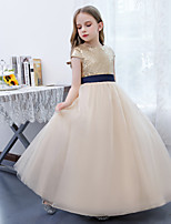 cheap -A-Line Jewel Neck Floor Length Lace / Tulle Junior Bridesmaid Dress with Sash / Ribbon