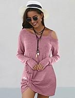 cheap -Women's Shift Dress Short Mini Dress - Long Sleeve Solid Color Patchwork Fall One Shoulder Casual 2020 Black Blue Purple S M L XL