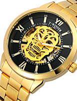 cheap -WINNER Men's Mechanical Watch Automatic self-winding Vintage Style Casual Hollow Engraving Analog Black+Gloden Black Gold / Two Years / Stainless Steel / Two Years