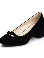 cheap -Women's Heels Wedge Heel Square Toe Classic Daily Bowknot Solid Colored Nubuck Almond / Black / Gray