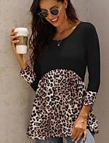 cheap -Women's T-shirt Leopard Cheetah Print Patchwork Print Round Neck Tops Loose Basic Basic Top Black Purple Blushing Pink