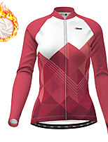 cheap -21Grams Women's Long Sleeve Cycling Jersey Winter Fleece Polyester Red Gradient Geometic Bike Jersey Top Mountain Bike MTB Road Bike Cycling Thermal Warm Fleece Lining Breathable Sports Clothing