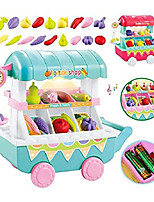 cheap -new kids children girls food cart toy with light music diy assembly kitchen playsets